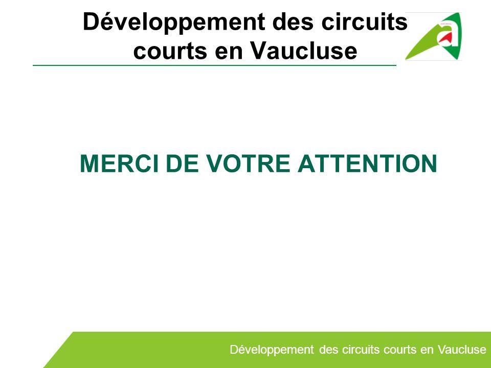 Développement des circuits courts en Vaucluse MERCI DE VOTRE ATTENTION Développement des circuits courts en Vaucluse