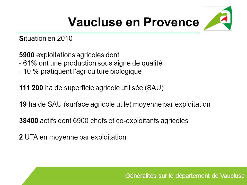 Vaucluse en Provence Situation en 2010 5900 exploitations agricoles dont - 61% ont une production sous signe de qualité - 10 % pratiquent lagriculture