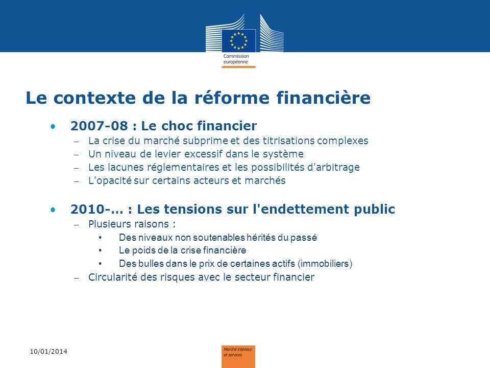 Les objectifs de la réforme Renforcer la stabilité du système financier Réformer de manière coordonnée au niveau international – Le rôle central du G20 et du FSB – Réduire les possibilités d arbitrage et de contournement de la réglementation Approfondir l intégration du Marché Intérieur – Accroître la protection des déposants, épargnants et des contribuables européens – Renforcer l harmonisation européenne et le level playing-field – Pour poser les conditions d une croissance soutenable 10/01/2014