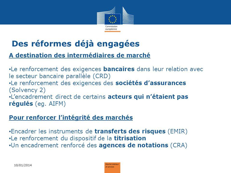 Des réformes déjà engagées 10/01/2014 A destination des intermédiaires de marché Le renforcement des exigences bancaires dans leur relation avec le se