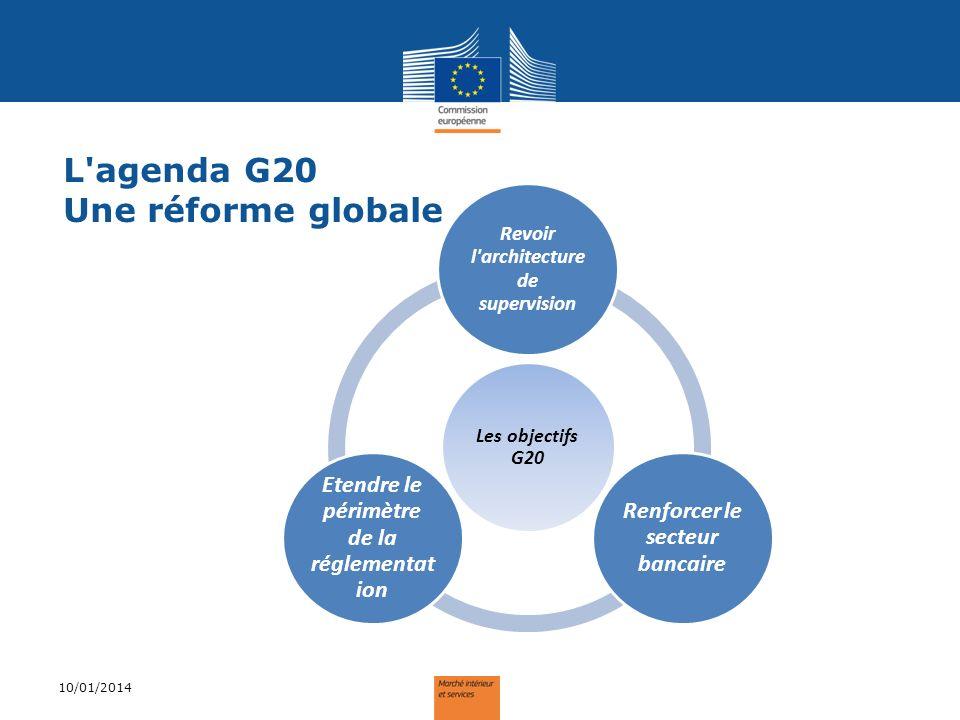 L'agenda G20 Une réforme globale 10/01/2014 Les objectifs G20 Revoir l'architecture de supervision Renforcer le secteur bancaire Etendre le périmètre