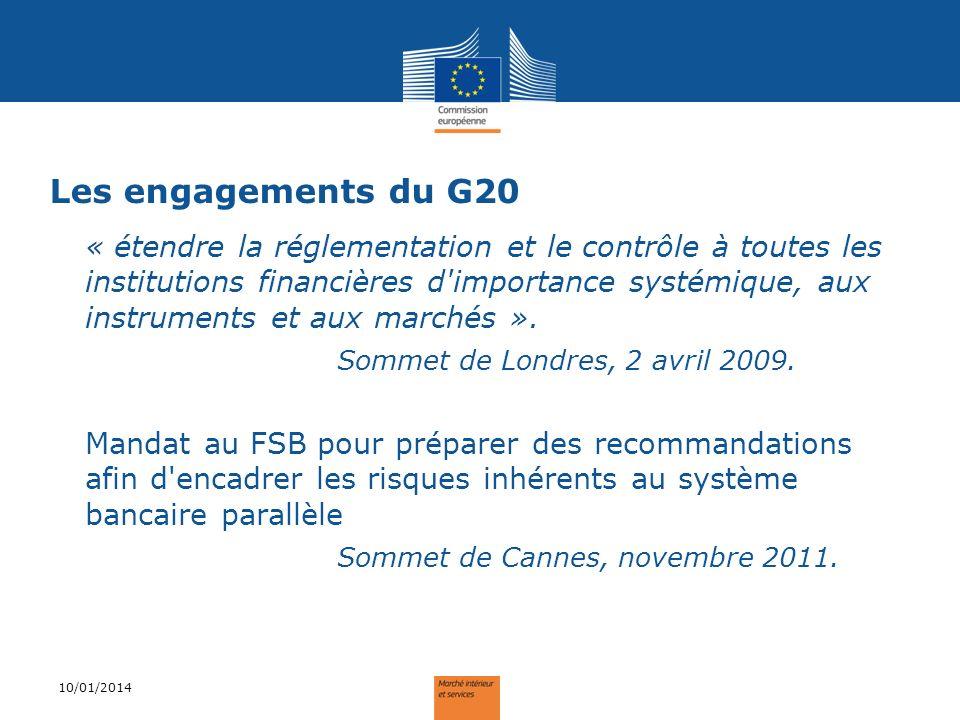 Les engagements du G20 « étendre la réglementation et le contrôle à toutes les institutions financières d'importance systémique, aux instruments et au