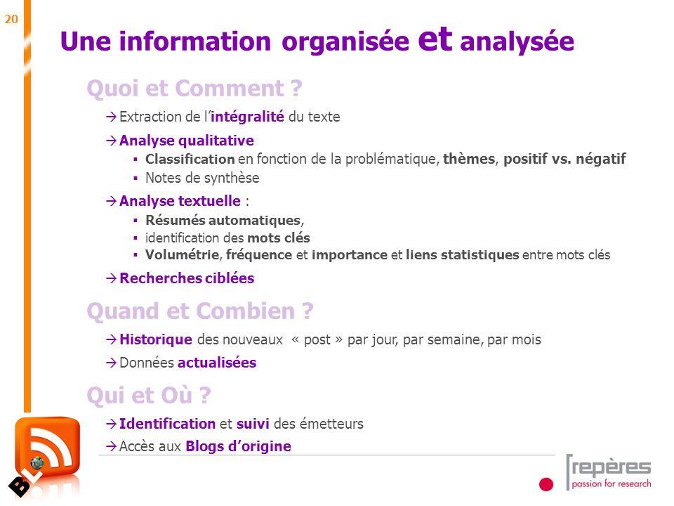 20 Juin 2007 Une information organisée et analysée Quoi et Comment .