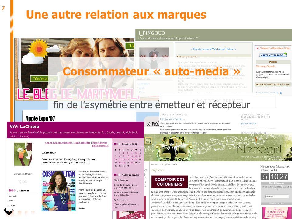 7 Juin 2007 Une autre relation aux marques Consommateur « auto-media » fin de lasymétrie entre émetteur et récepteur