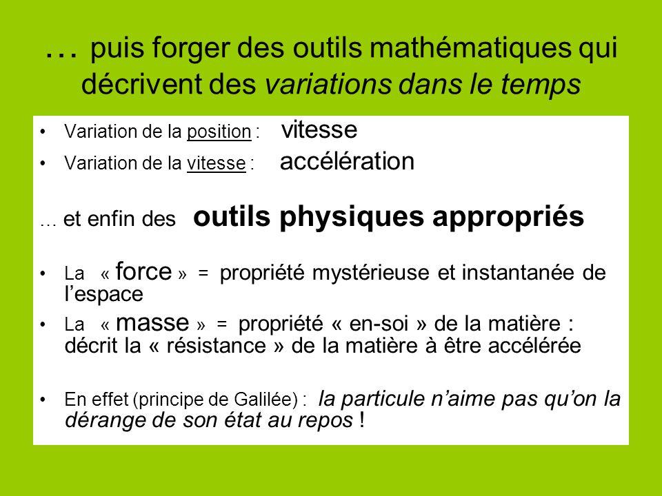 … puis forger des outils mathématiques qui décrivent des variations dans le temps Variation de la position : vitesse Variation de la vitesse : accélération … et enfin des outils physiques appropriés La « force » = propriété mystérieuse et instantanée de lespace La « masse » = propriété « en-soi » de la matière : décrit la « résistance » de la matière à être accélérée En effet (principe de Galilée) : la particule naime pas quon la dérange de son état au repos !