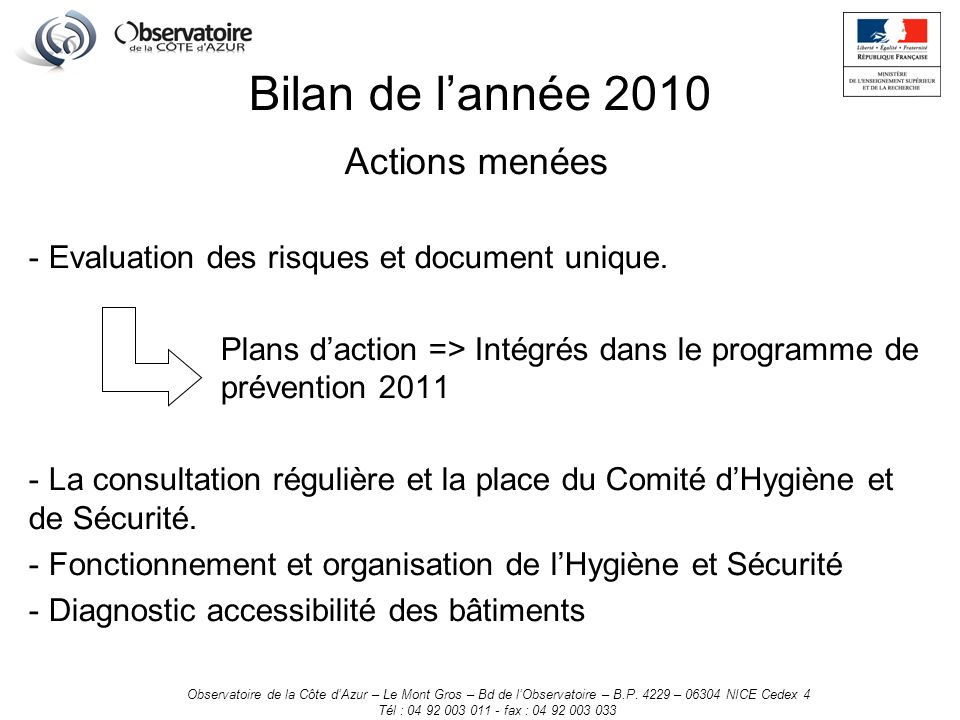 Actions menées - Evaluation des risques et document unique.