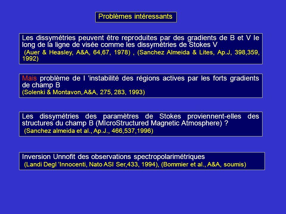 Les dissymétries peuvent être reproduites par des gradients de B et V le long de la ligne de visée comme les dissymétries de Stokes V (Auer & Heasley, A&A, 64,67, 1978), (Sanchez Almeida & Lites, Ap.J, 398,359, 1992) Mais problème de l instabilité des régions actives par les forts gradients de champ B (Solenki & Montavon, A&A, 275, 283, 1993) Les dissymétries des paramètres de Stokes proviennent-elles des structures du champ B (MIcroStructured Magnetic Atmosphere) .