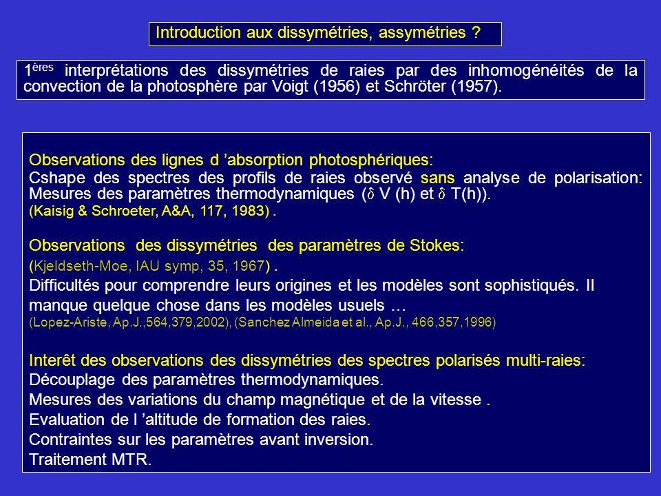 Observations des lignes d absorption photosphériques: Cshape des spectres des profils de raies observé sans analyse de polarisation: Mesures des paramètres thermodynamiques ( V (h) et T(h)).
