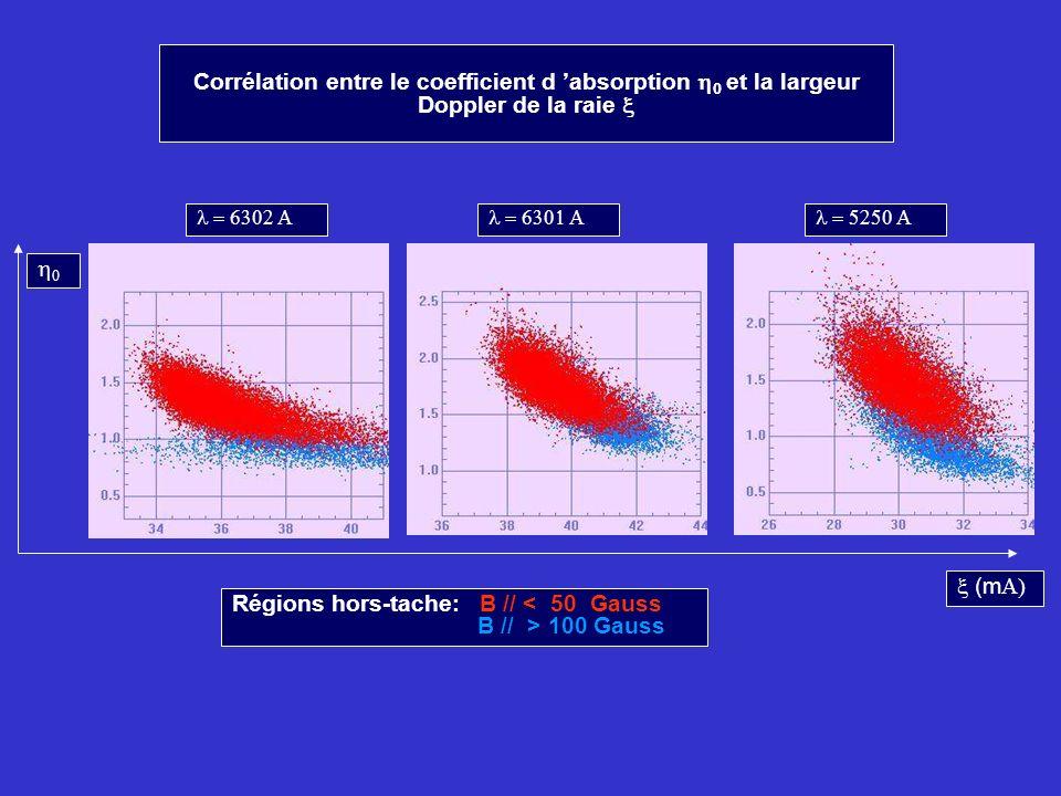 Corrélation entre le coefficient d absorption et la largeur Doppler de la raie (m Régions hors-tache: B // < 50 Gauss B // > 100 Gauss