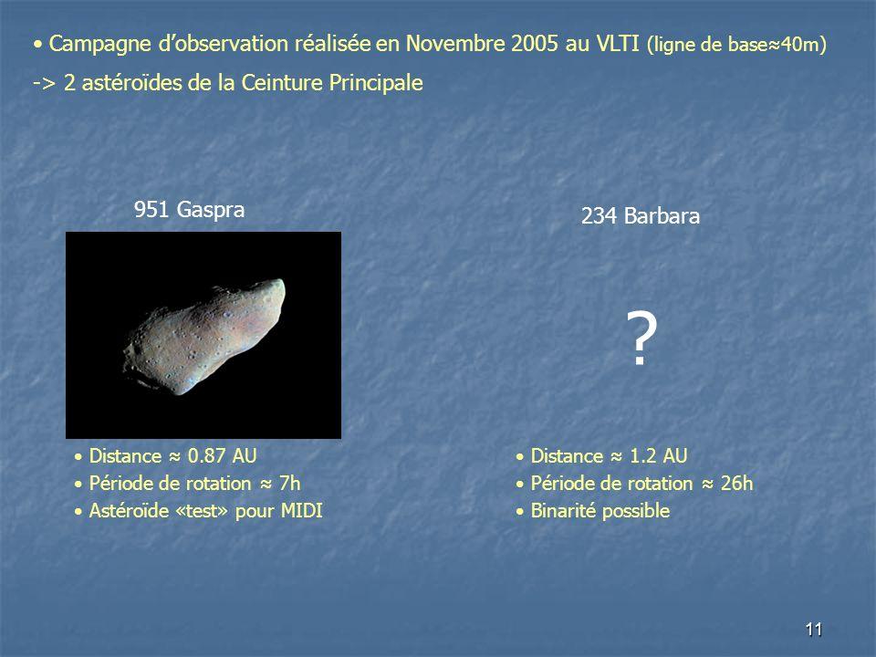 11 Campagne dobservation réalisée en Novembre 2005 au VLTI (ligne de base40m) -> 2 astéroïdes de la Ceinture Principale 234 Barbara .
