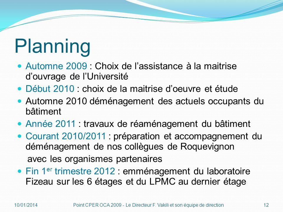 Planning Automne 2009 : Choix de lassistance à la maitrise douvrage de lUniversité Début 2010 : choix de la maitrise doeuvre et étude Automne 2010 dém