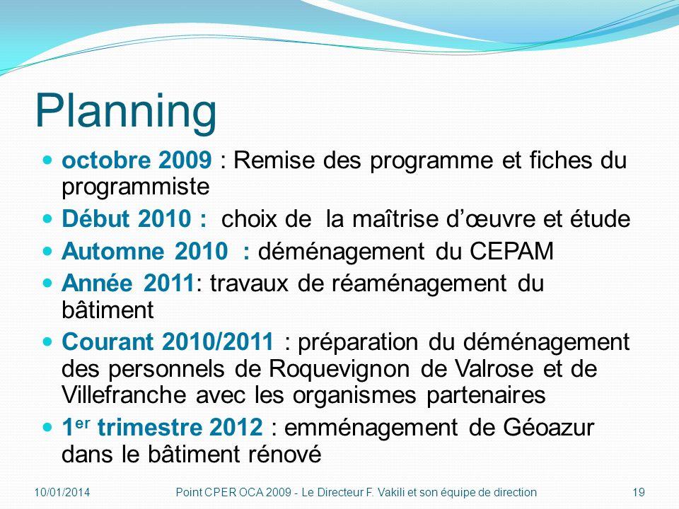 Planning octobre 2009 : Remise des programme et fiches du programmiste Début 2010 : choix de la maîtrise dœuvre et étude Automne 2010 : déménagement d