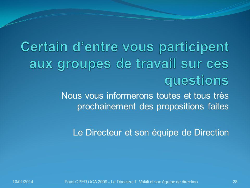 Nous vous informerons toutes et tous très prochainement des propositions faites Le Directeur et son équipe de Direction 10/01/201428Point CPER OCA 200