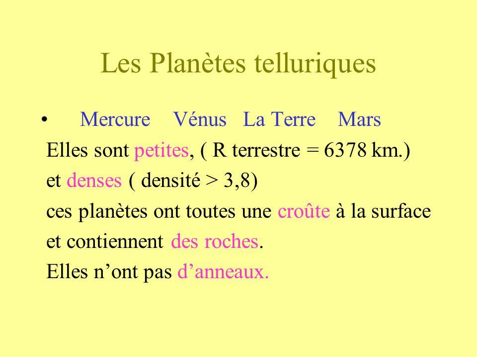 Les Planètes telluriques Mercure Vénus La Terre Mars Elles sont petites, ( R terrestre = 6378 km.) et denses ( densité > 3,8) ces planètes ont toutes