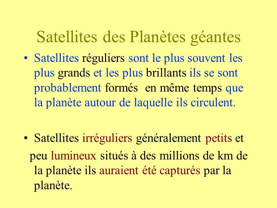 Satellites des Planètes géantes Satellites réguliers sont le plus souvent les plus grands et les plus brillants ils se sont probablement formés en mêm