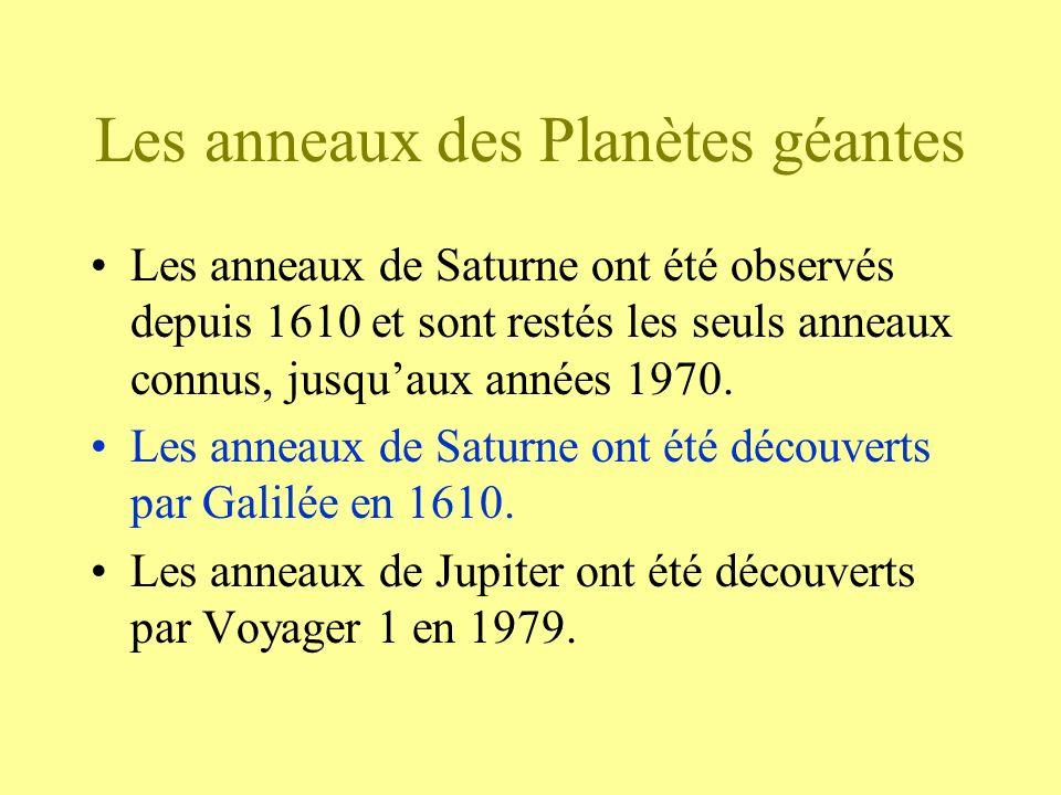 Les anneaux des Planètes géantes Les anneaux de Saturne ont été observés depuis 1610 et sont restés les seuls anneaux connus, jusquaux années 1970. Le