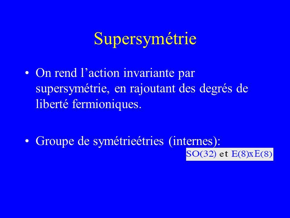 Supersymétrie On rend laction invariante par supersymétrie, en rajoutant des degrés de liberté fermioniques. Groupe de symétrieétries (internes):