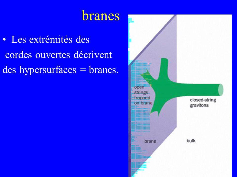 branes Les extrémités des cordes ouvertes décrivent des hypersurfaces = branes.