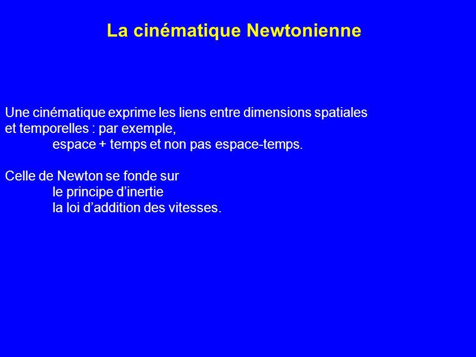 La cinématique Newtonienne Une cinématique exprime les liens entre dimensions spatiales et temporelles : par exemple, espace + temps et non pas espace