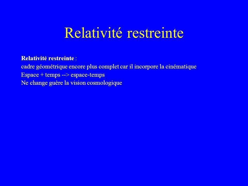 Relativité restreinte Relativité restreinte : cadre géométrique encore plus complet car il incorpore la cinématique Espace + temps --> espace-temps Ne