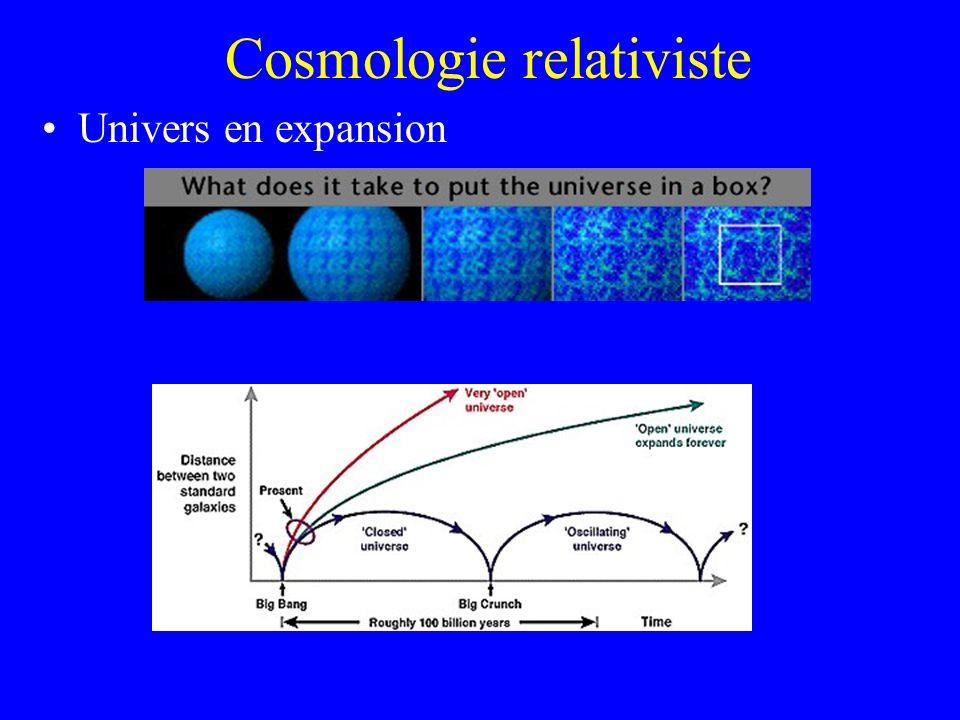 Cosmologie relativiste Univers en expansion