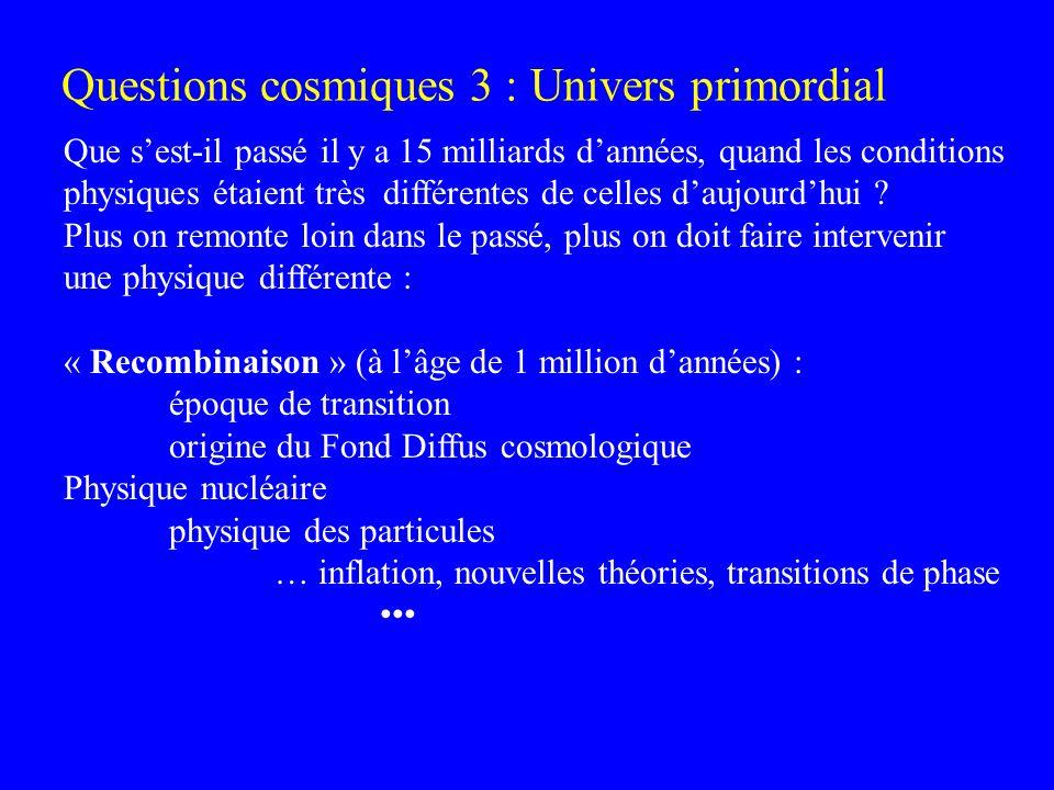 Questions cosmiques 3 : Univers primordial Que sest-il passé il y a 15 milliards dannées, quand les conditions physiques étaient très différentes de c
