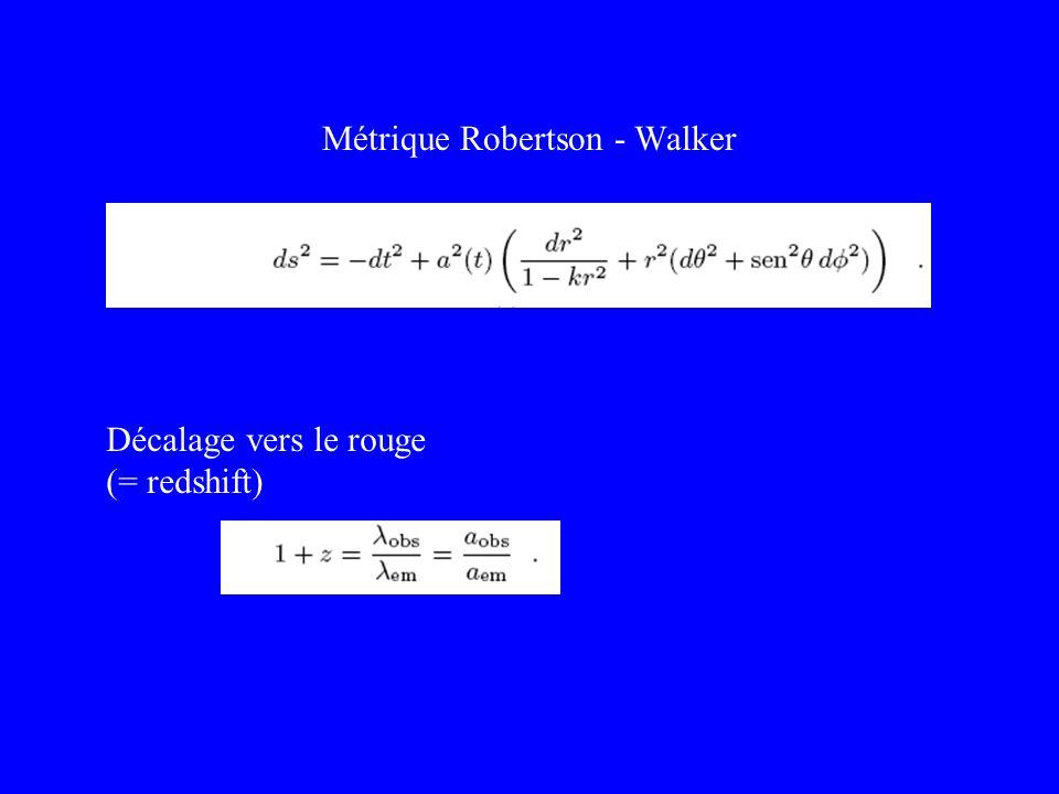 Métrique Robertson - Walker Décalage vers le rouge (= redshift)