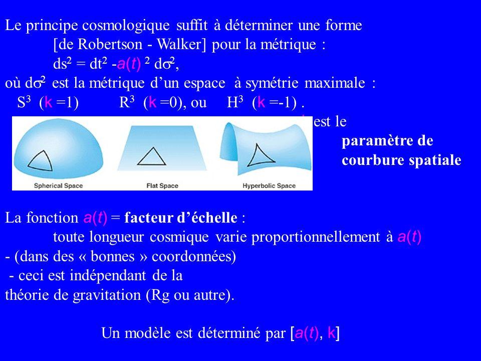 Le principe cosmologique suffit à déterminer une forme [de Robertson - Walker] pour la métrique : ds 2 = dt 2 - a(t) 2 d 2, où d 2 est la métrique dun