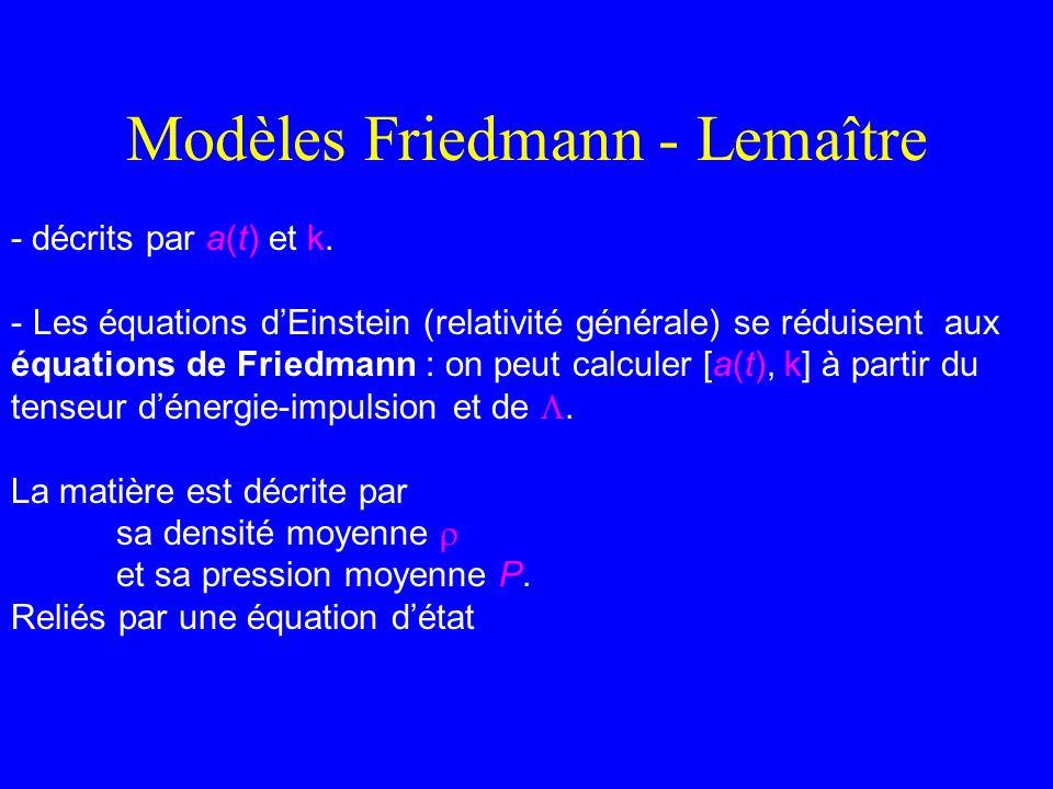 Modèles Friedmann - Lemaître - décrits par a(t) et k. - Les équations dEinstein (relativité générale) se réduisent aux équations de Friedmann : on peu