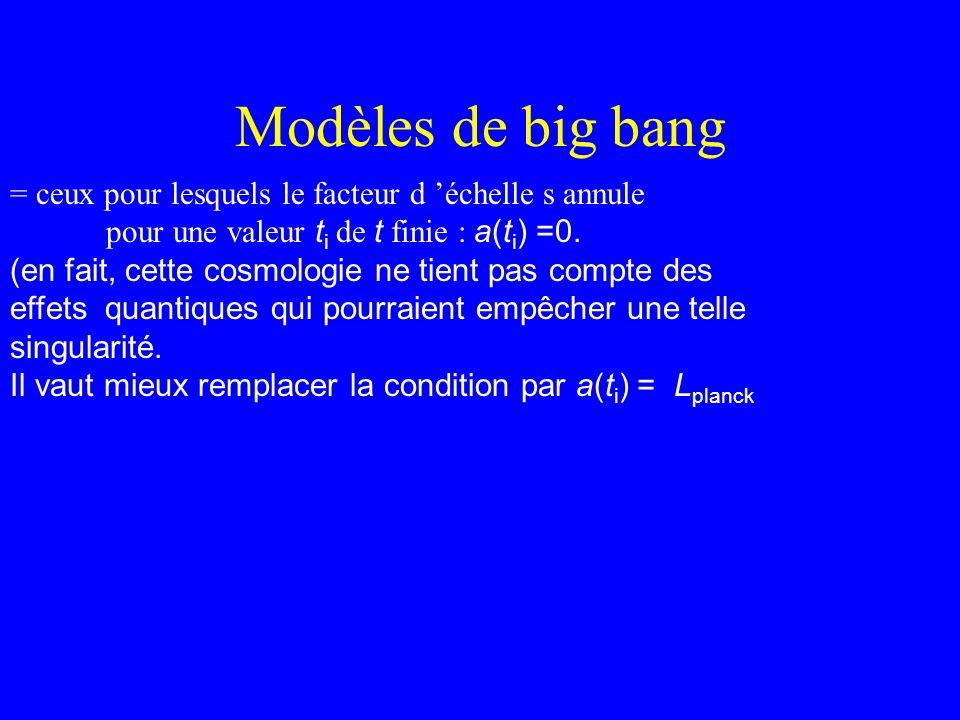 Modèles de big bang = ceux pour lesquels le facteur d échelle s annule pour une valeur t i de t finie : a(t i ) =0. (en fait, cette cosmologie ne tien