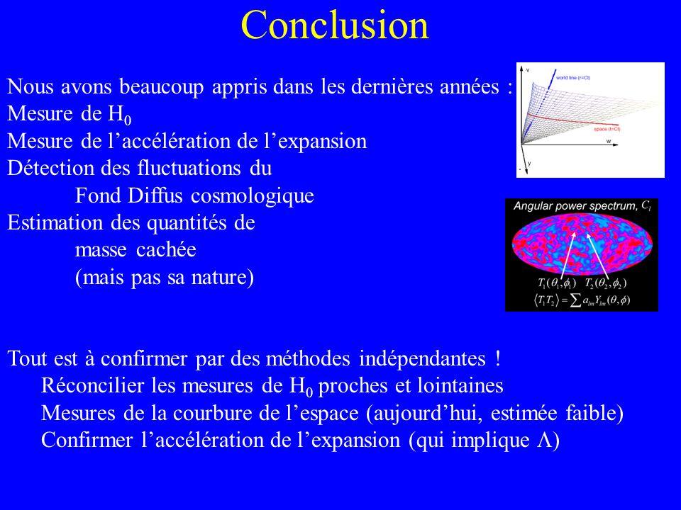 Conclusion Nous avons beaucoup appris dans les dernières années : Mesure de H 0 Mesure de laccélération de lexpansion Détection des fluctuations du Fo