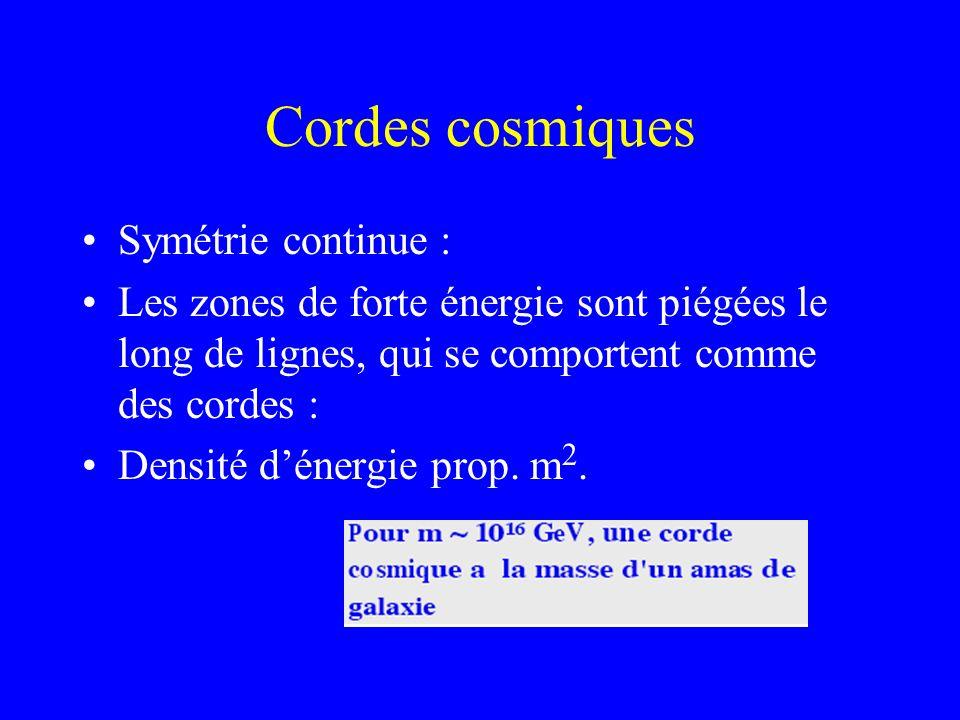 Cordes cosmiques Symétrie continue : Les zones de forte énergie sont piégées le long de lignes, qui se comportent comme des cordes : Densité dénergie