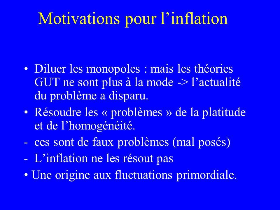 Motivations pour linflation Diluer les monopoles : mais les théories GUT ne sont plus à la mode -> lactualité du problème a disparu. Résoudre les « pr