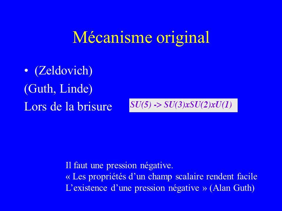 Mécanisme original (Zeldovich) (Guth, Linde) Lors de la brisure Il faut une pression négative. « Les propriétés dun champ scalaire rendent facile Lexi