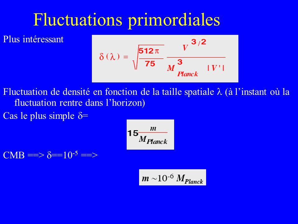 Fluctuations primordiales Plus intéressant Fluctuation de densité en fonction de la taille spatiale (à linstant où la fluctuation rentre dans lhorizon
