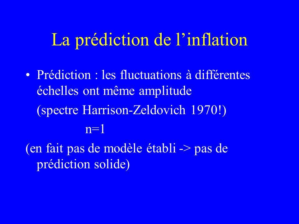 La prédiction de linflation Prédiction : les fluctuations à différentes échelles ont même amplitude (spectre Harrison-Zeldovich 1970!) n=1 (en fait pa