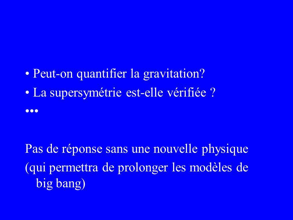 Peut-on quantifier la gravitation? La supersymétrie est-elle vérifiée ? Pas de réponse sans une nouvelle physique (qui permettra de prolonger les modè