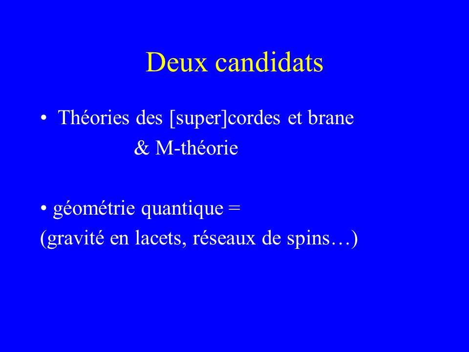 Deux candidats Théories des [super]cordes et brane & M-théorie géométrie quantique = (gravité en lacets, réseaux de spins…)