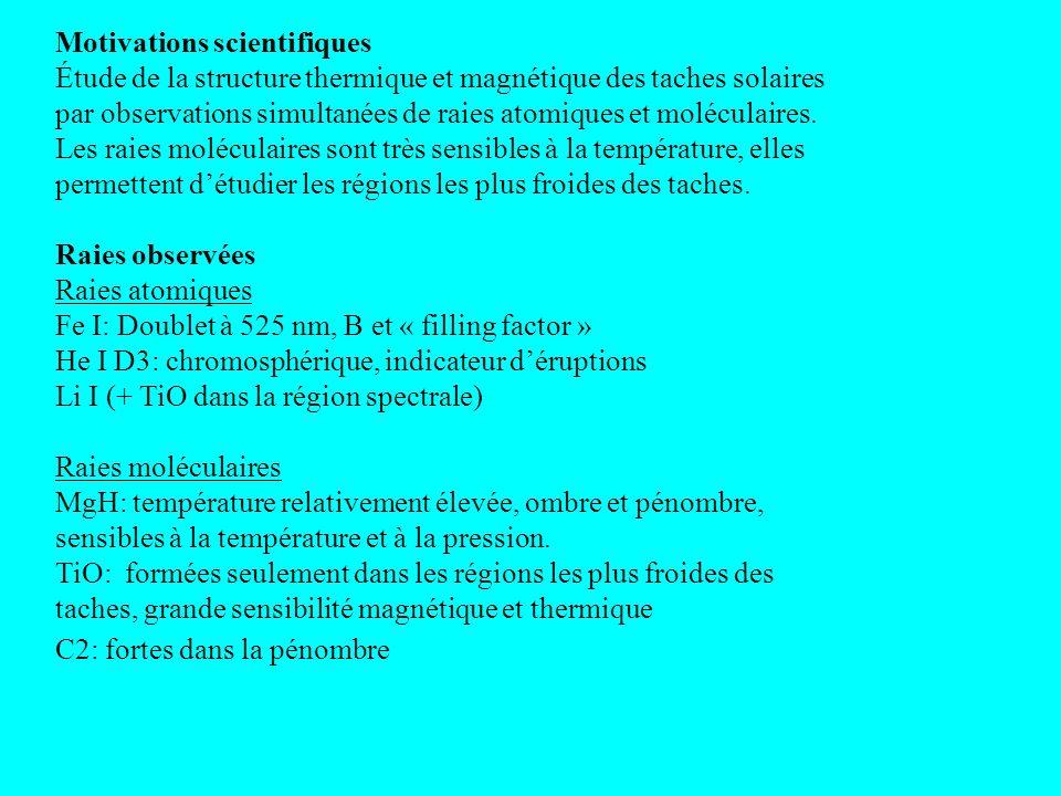 Motivations scientifiques Étude de la structure thermique et magnétique des taches solaires par observations simultanées de raies atomiques et moléculaires.