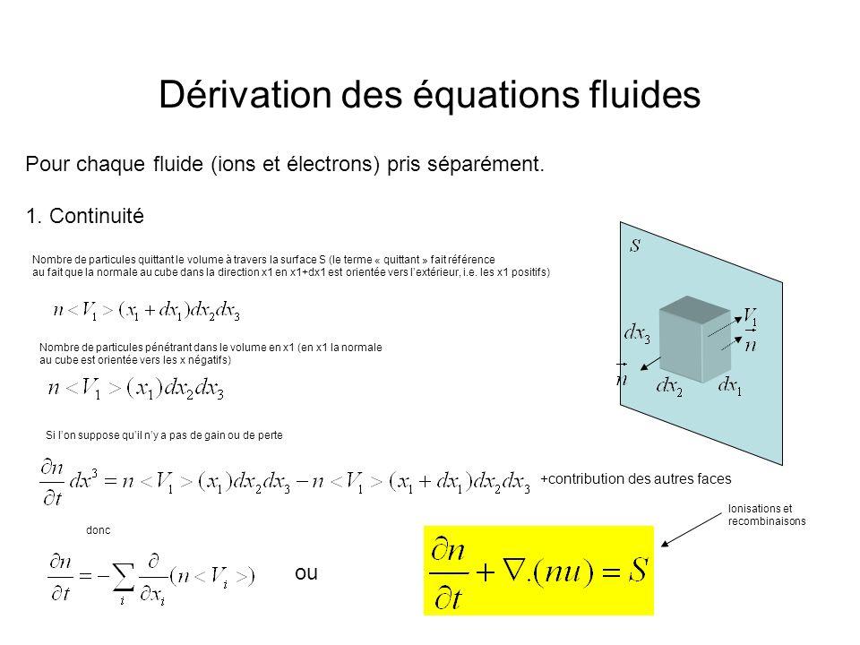 Dérivation des équations fluides Pour chaque fluide (ions et électrons) pris séparément. 1. Continuité Nombre de particules quittant le volume à trave