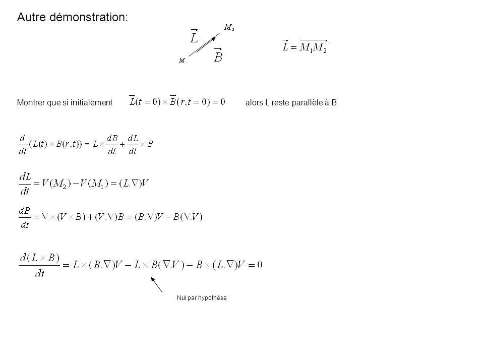 Autre démonstration: Montrer que si initialementalors L reste parallèle à B Nul par hypothèse