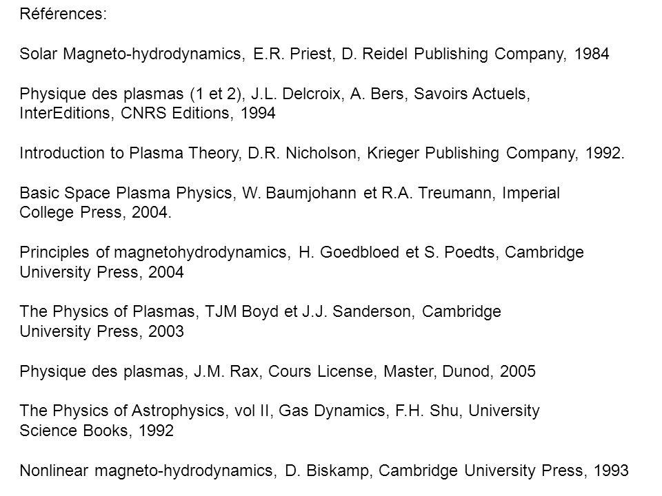 Références: Solar Magneto-hydrodynamics, E.R. Priest, D. Reidel Publishing Company, 1984 Physique des plasmas (1 et 2), J.L. Delcroix, A. Bers, Savoir