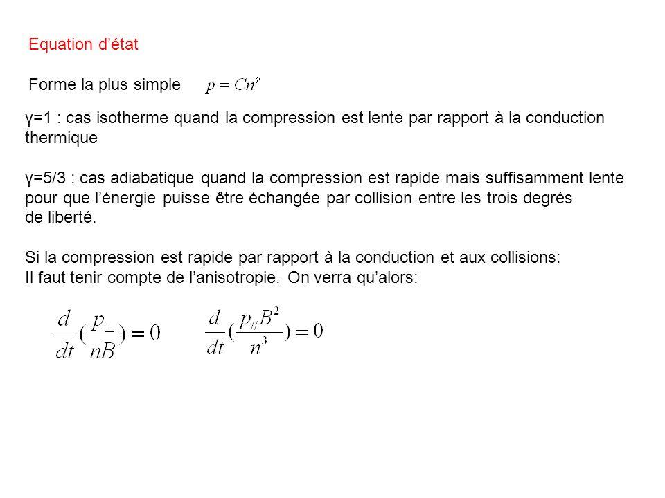 Equations bi-fluides: Les équations de continuité sappliquent séparément pour chaque fluide mais il faut tenir compte dans léquation pour limpulsion des collisions entre particules différentes.
