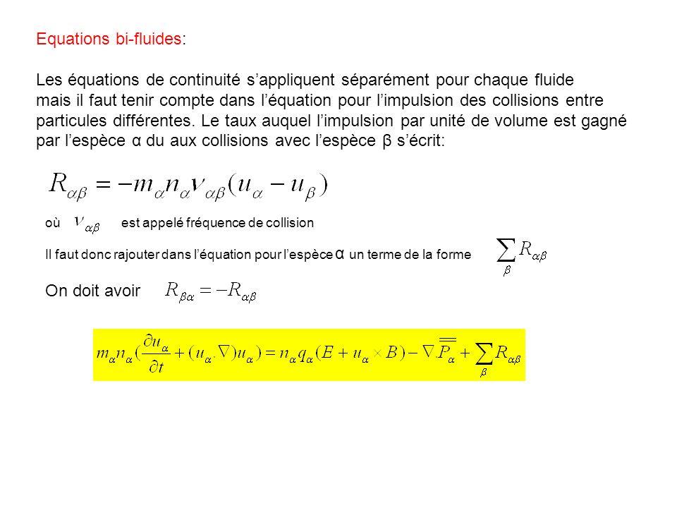 Equations bi-fluides: Les équations de continuité sappliquent séparément pour chaque fluide mais il faut tenir compte dans léquation pour limpulsion d