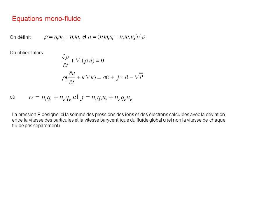 Equations mono-fluide On définit On obtient alors: où La pression P désigne ici la somme des pressions des ions et des électrons calculées avec la dév