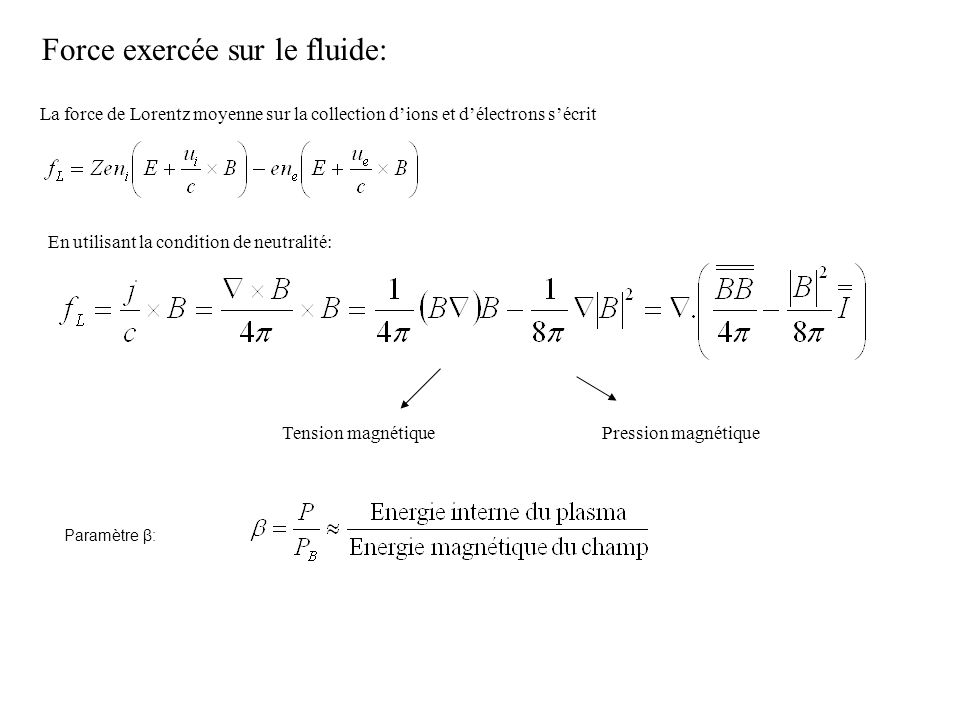 Force exercée sur le fluide: La force de Lorentz moyenne sur la collection dions et délectrons sécrit En utilisant la condition de neutralité: Tension
