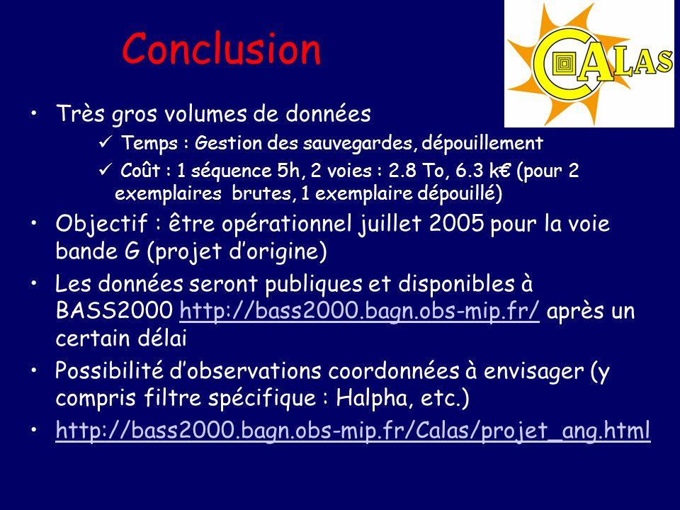 Conclusion Très gros volumes de données Temps : Gestion des sauvegardes, dépouillement Coût : 1 séquence 5h, 2 voies : 2.8 To, 6.3 k (pour 2 exemplaires brutes, 1 exemplaire dépouillé) Objectif : être opérationnel juillet 2005 pour la voie bande G (projet dorigine) Les données seront publiques et disponibles à BASS2000 http://bass2000.bagn.obs-mip.fr/ après un certain délaihttp://bass2000.bagn.obs-mip.fr/ Possibilité dobservations coordonnées à envisager (y compris filtre spécifique : Halpha, etc.) http://bass2000.bagn.obs-mip.fr/Calas/projet_ang.html