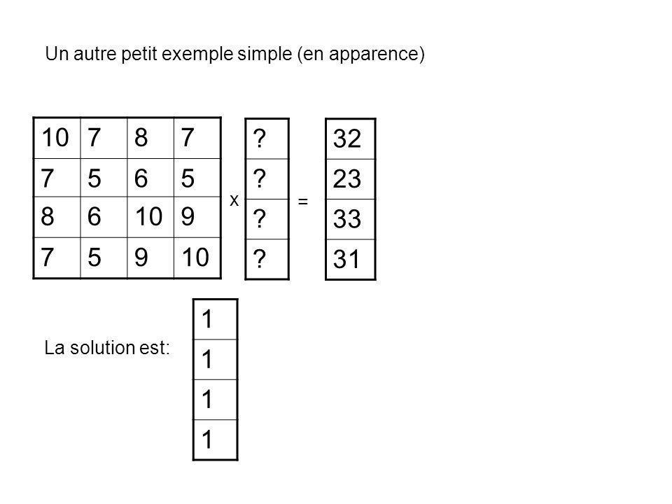 10787 7565 86 9 759 ? ? ? ? 32 23 33 31 = Un autre petit exemple simple (en apparence) x 1 1 1 1 La solution est: