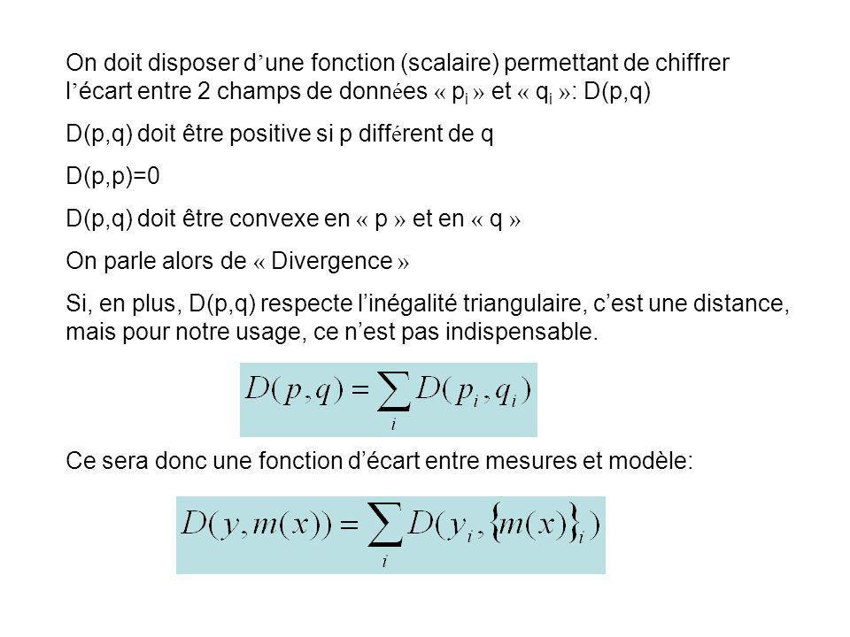 On doit disposer d une fonction (scalaire) permettant de chiffrer l écart entre 2 champs de donn é es « p i » et « q i » : D(p,q) D(p,q) doit être pos