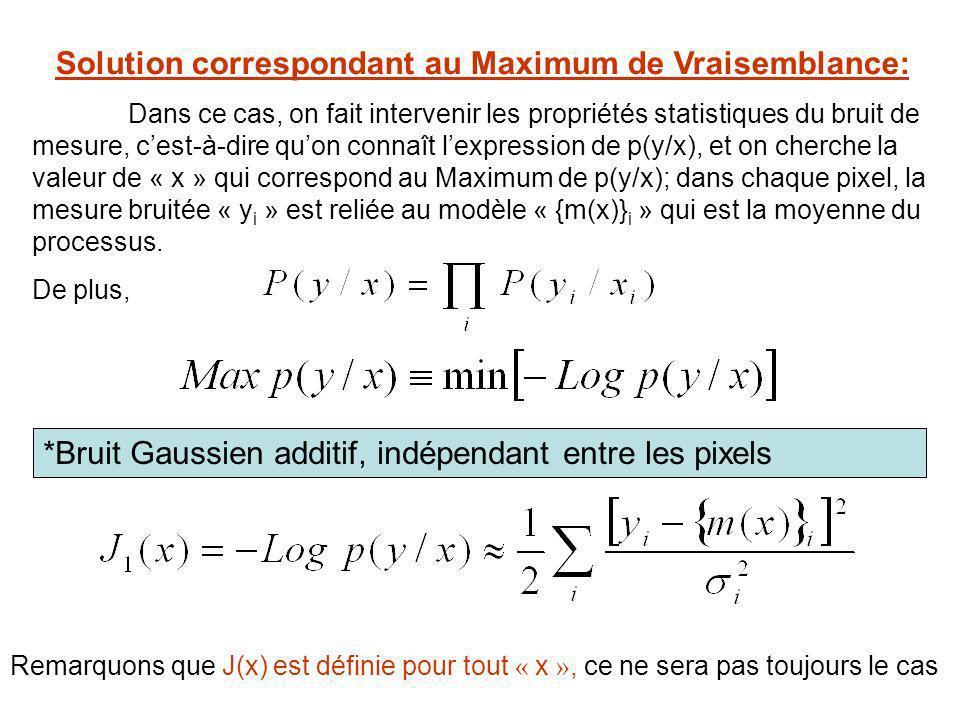 Solution correspondant au Maximum de Vraisemblance: Dans ce cas, on fait intervenir les propriétés statistiques du bruit de mesure, cest-à-dire quon c